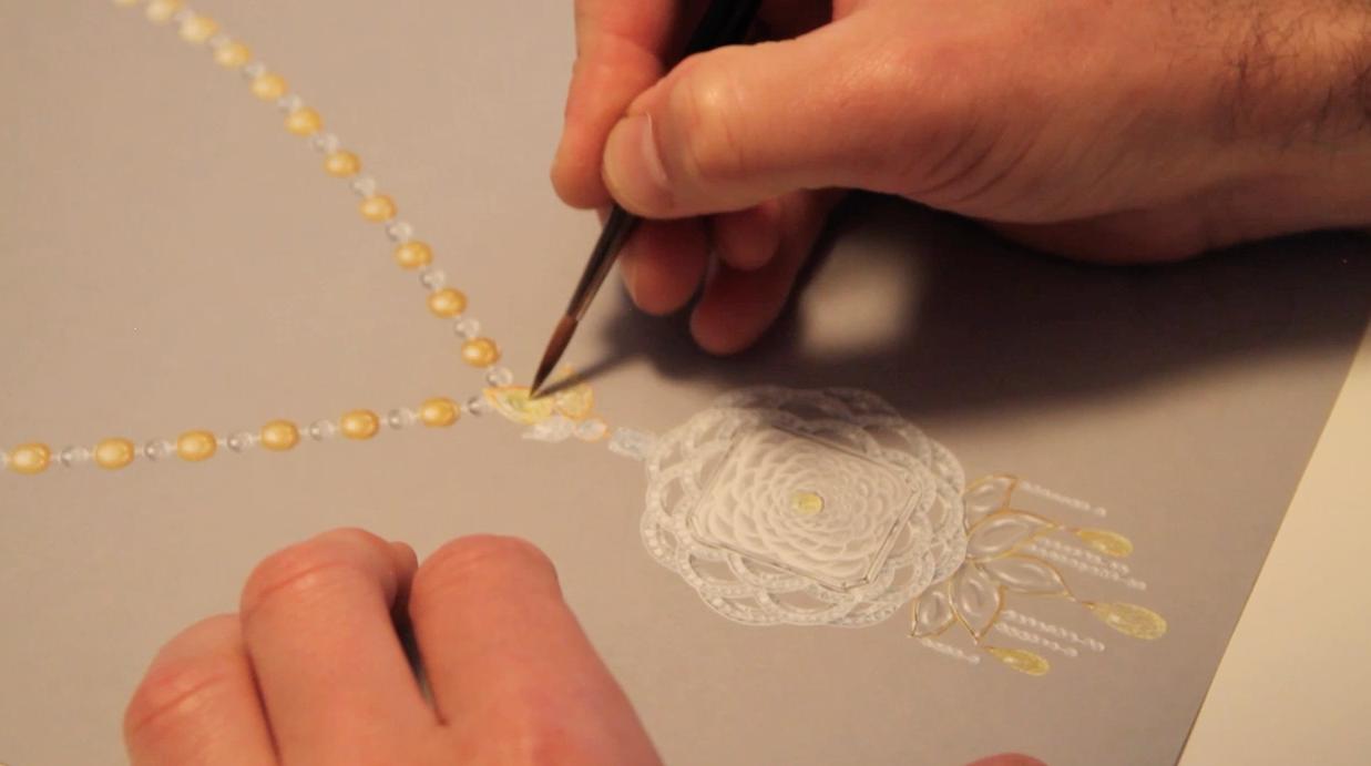 Demo gouache collier haute joaillerie, pivoine, diamant blanc et diamants jonquille, briolette