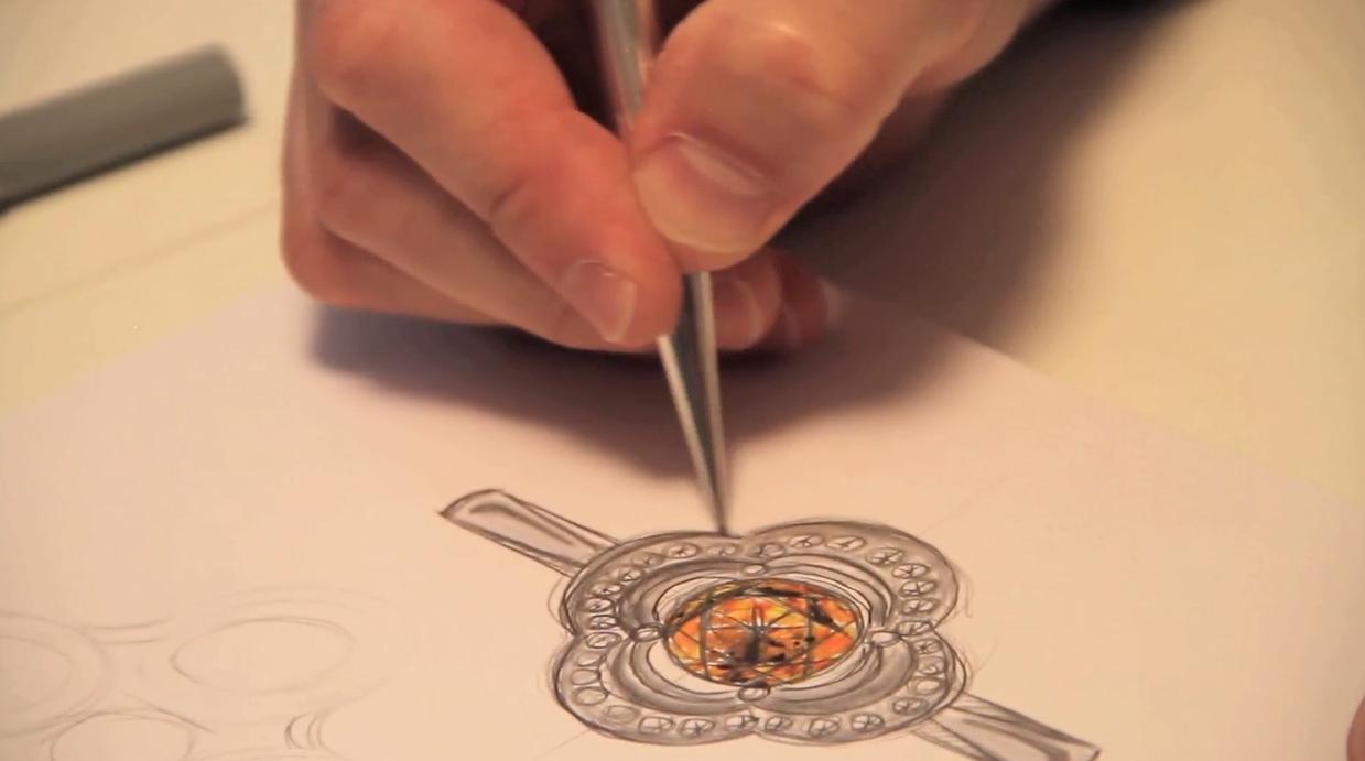 croqui bague joaillerie, forme de treffle, grenat mandarin, Christophe Lainé