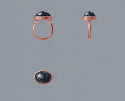 bague, or rose, cabochon onix, briolette, diamant, Christophe Lainé designer joaillerie