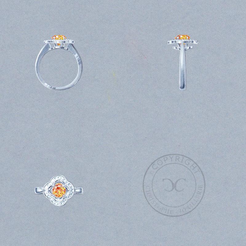 bague porte bonheur, gouaché, grenat-mandarin-diamants, Christophe Lainé designer joaillerie