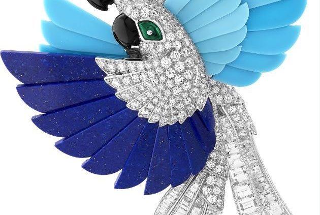 Clip-perroquets van cleef and Arpels-turquoise-lapis lazuli