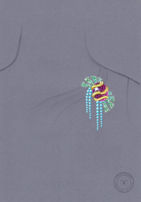 gouaché clip tutti frutti, turquoise, rubellite, cabochon, perle, saphir jaune, émeraude, Christophe Lainé designer Joaillerie