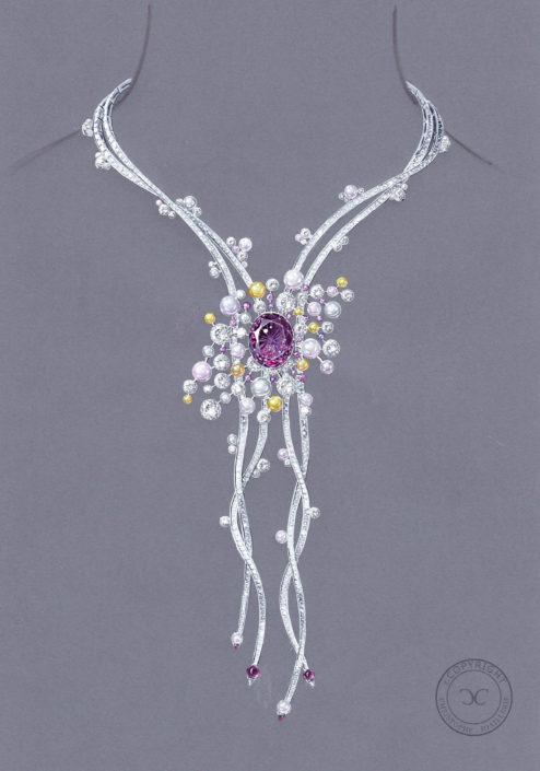 collier-passementerie-saphir-violet-perle-diamant, Christophe Lainé designer joaillerie