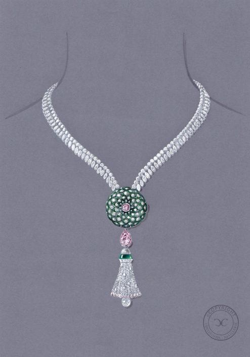 goauché collier haute joaillerie, jade impérial, pompon briolette, morganite, Christophe Lainé designer joaillerie