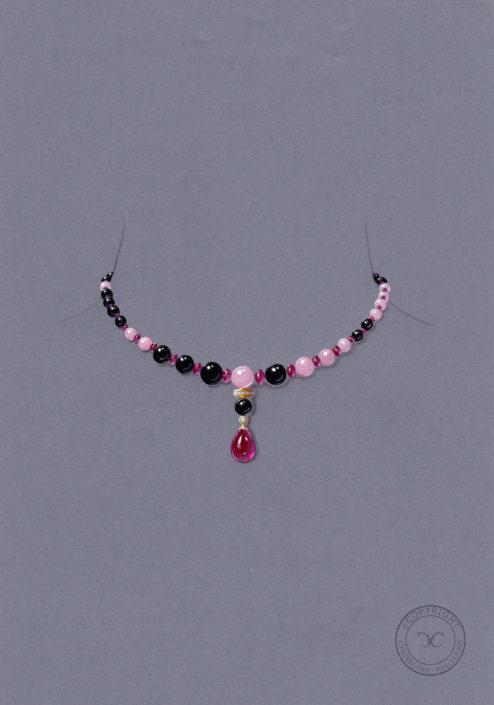 gouaché collier, perles, onyx, perle opale rose, rubellite, Christophe Lainé designer joaillerie