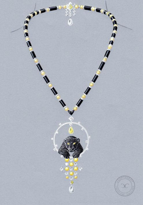 gouaché collier haute joaillerie, panthère, art déco, Christophe lainé designer joaillerie