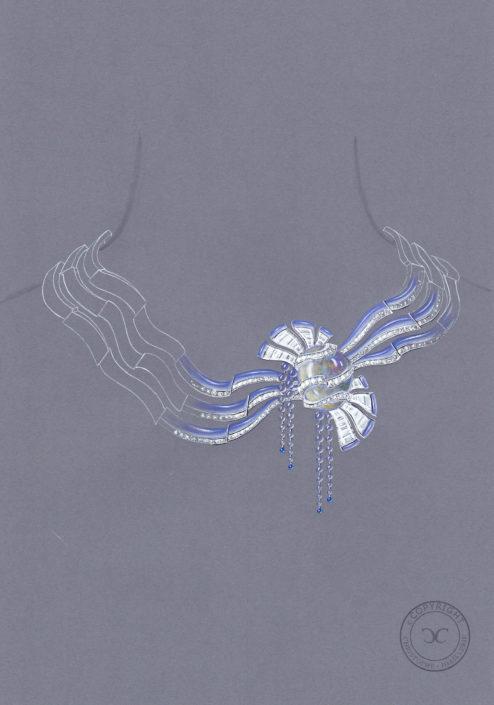 gouaché collier haute joaillerie, architecture espagnol, calcédoine, clip détachable, opale, perle briolette, Christophe Lainé Designer joaillerie