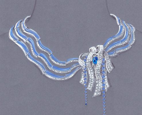 gouaché collier haute joaillerie, architecture espagnol, calcédoine, saphir, perle briolette, Christophe Lainé Designer joaillerie