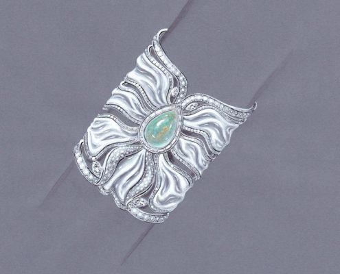 gouaché, diamant opale agate blanche, manchette, Christophe Lainé designer joaillerie
