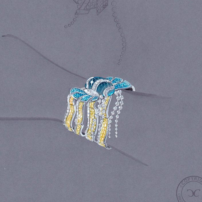gouaché, manchette diamant jaune, saphir bleu, aigue-marine, briolette, Christophe Lainé designer joaillerie
