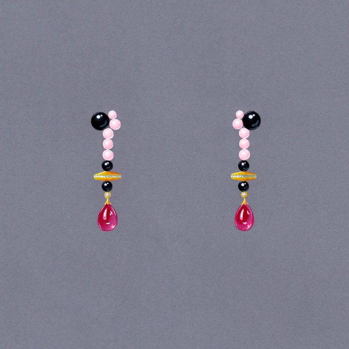 gouaché, pendant oreille, opale rose, onyx rubellite, or jaune, Christophe Lainé designer joaillerie