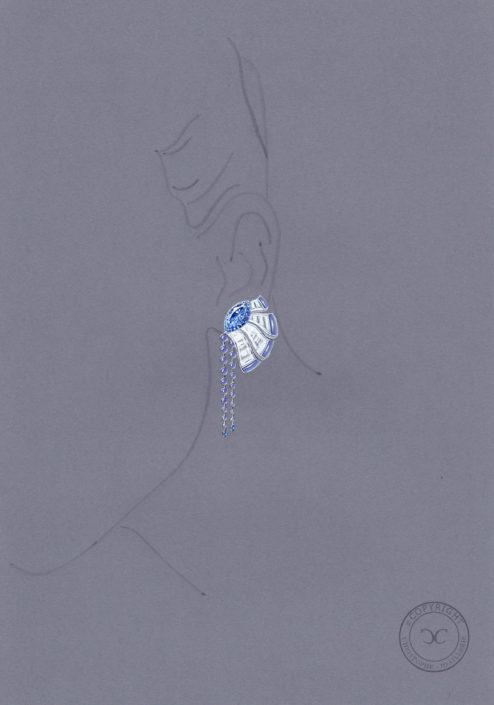 gouaché pendant oreilles, saphir bleu, calcédoine, perles, diamant, Christophe Lainé designer joaillerie