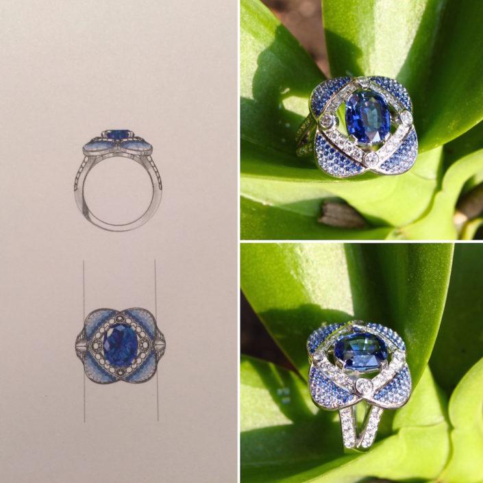 bague quatres amours, saphir, diamant, or blanc, christophe Lainé designer joaillerie