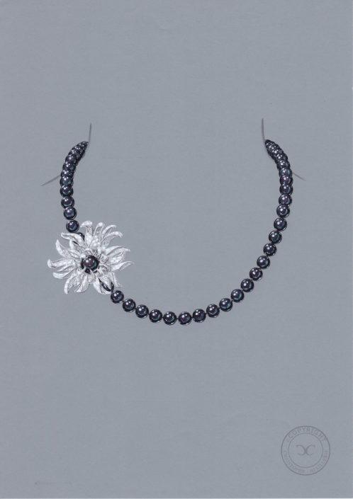 Christophe Lainé designer joaillerie, collier perles Tahiti, amémone-diamant