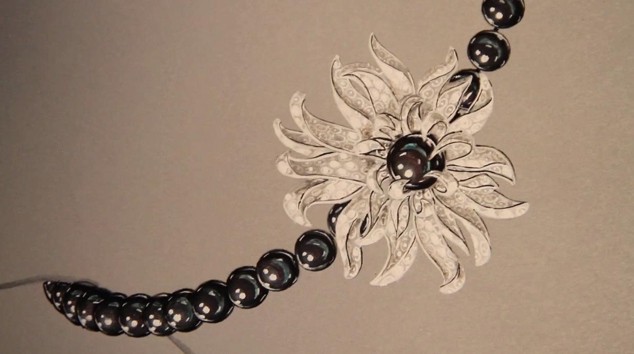 Gouaché collier joaillerie anémone, perles de Tahiti, or blanc, diamants