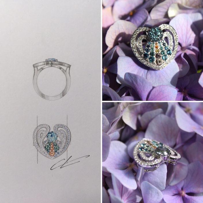 Christophe Lainé designer joaillerie, bague ange, pierre de couleurs, or blanc, diamant, christophe Lainé designer joaillerie