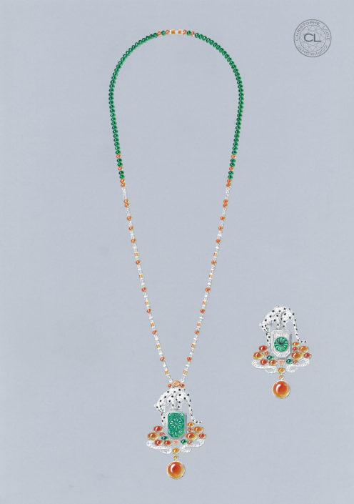 collier haute horlogerie, panthère, or blanc, diamant, perles, émeraude, grenat mandarin, émeraude, émeraude sculptée, grenat spessartite, christophe Lainé designer joaillerie