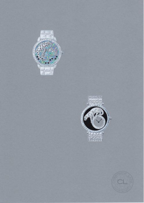 Montre joaillerie, panthère, opale, diamant, onix, gouache, christophe lainé designer joaillerie