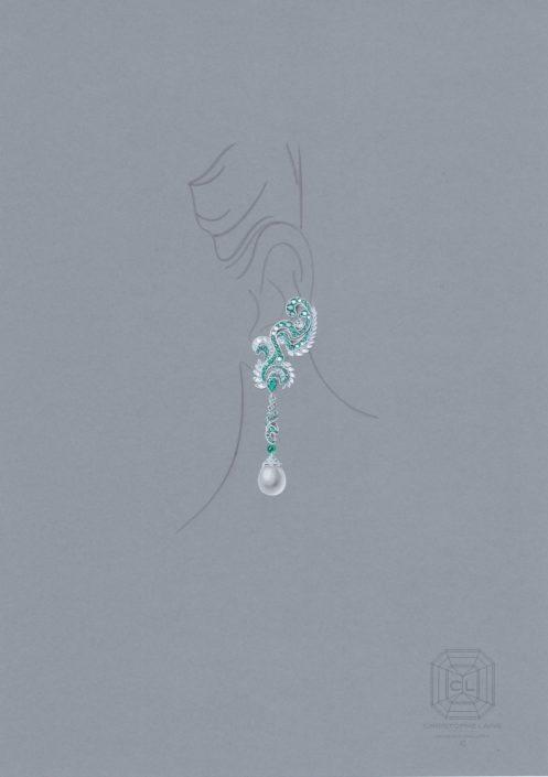 boucles d'oreilles, jardin d'Eden, émeraude, diamant, or blanc, perle émeraude, Perle de culture, christophe Lainé, designer joaillerie, jewelry design