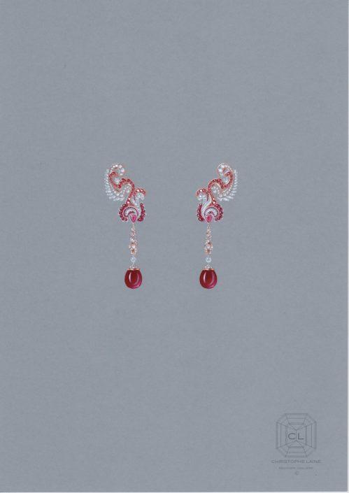 boucle d'oreilles, fruit défendu, Rubis, diamant, or rose, briolette, goutte, christophe Lainé, designer joaillerie, jewelrydesign